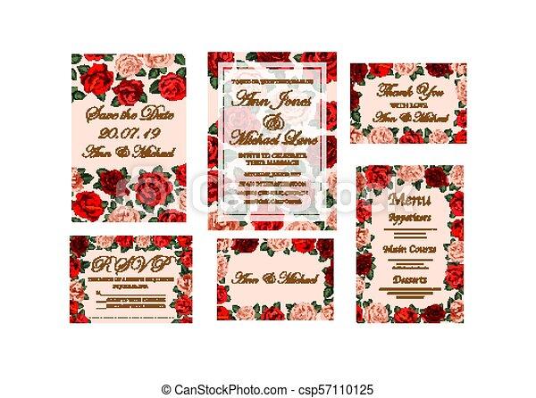 Tarjeta De Invitación De Boda Con Flor De Rosa Estandarte