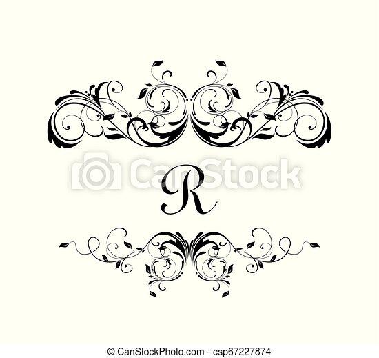 Un marco floral real para diseño herádico, etiqueta, boutique, invitación de boda, monograma, ceremonia - csp67227874