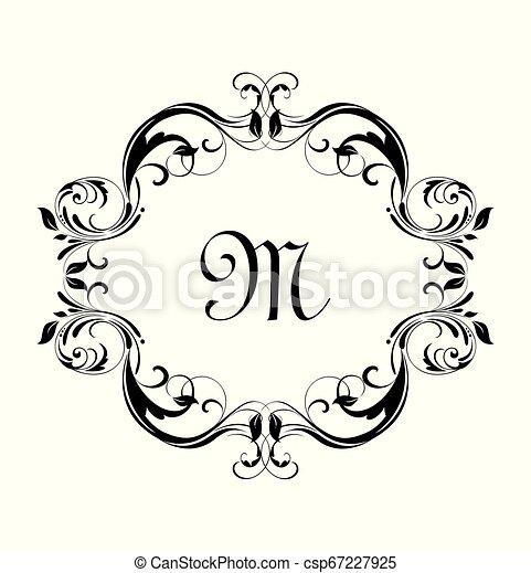 Un marco floral antiguo para diseño herádico, etiqueta, boutique, invitación de boda, monograma, ceremonia - csp67227925