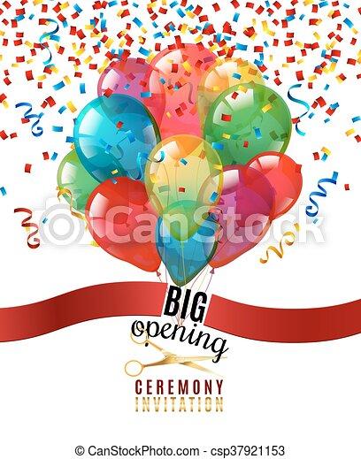 ceremonia, otwarcie, tło, zaproszenie - csp37921153