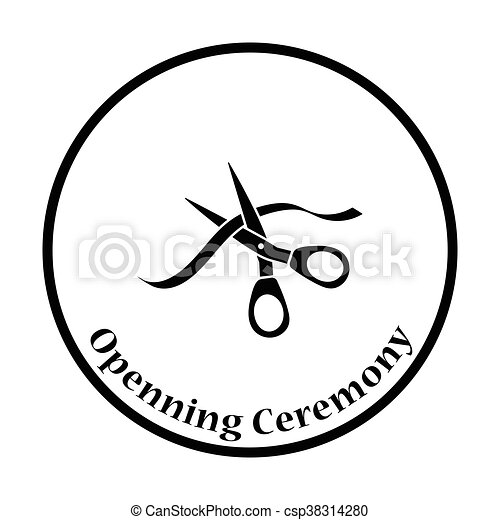 Ceremony ribbon cut icon - csp38314280