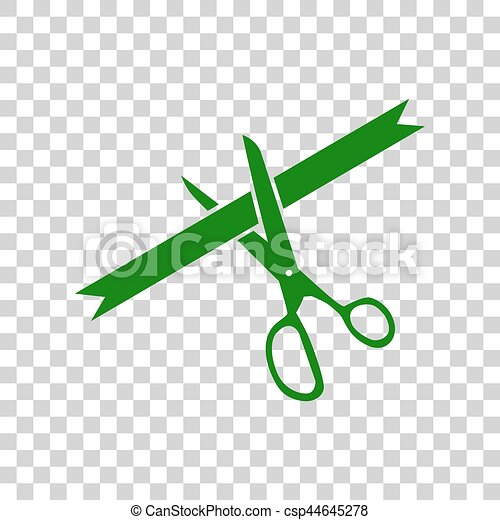Ceremony ribbon cut sign. Dark green icon on transparent background. - csp44645278