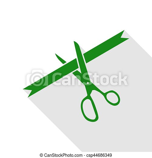 Ceremony ribbon cut sign. Green icon with flat style shadow path. - csp44686349