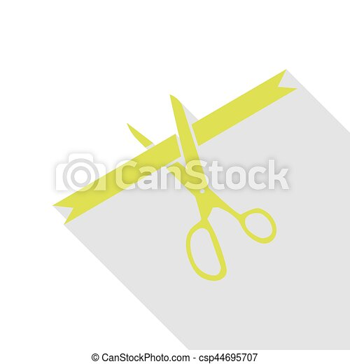 Ceremony ribbon cut sign. Pear icon with flat style shadow path. - csp44695707