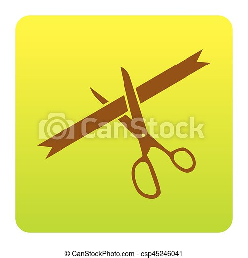 Ceremony ribbon cut sign. Vector. Brown icon at green-yellow gradient square with rounded corners on white background. Isolated. - csp45246041