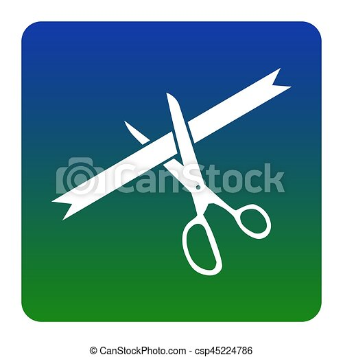 Ceremony ribbon cut sign. Vector. White icon at green-blue gradient square with rounded corners on white background. Isolated. - csp45224786