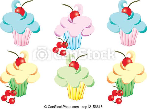 Cerezas, cupcakes, glaseado. Cerezas, pastel, cupcakes, glaseado ...