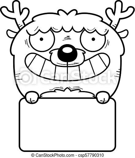 cerf, dessin animé, signe - csp57790310