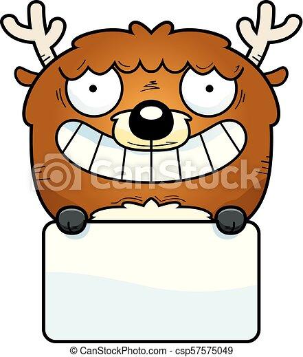 cerf, dessin animé, signe - csp57575049