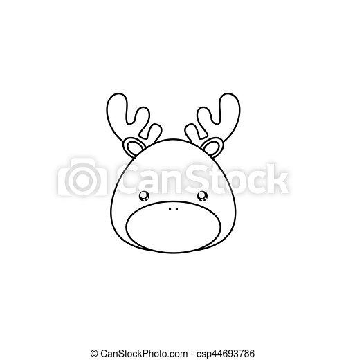 Cerf Dessin Figure Fond Face Abstraite Animal Dessin Ligne Blanc