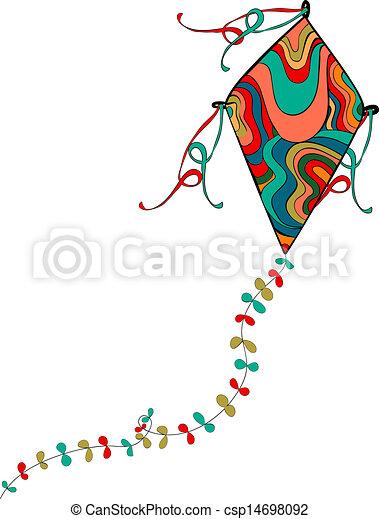Cerf volant, coloré. Vecteur, fichier, coloring., kite., vibrant, voler, isolé, coutume ...
