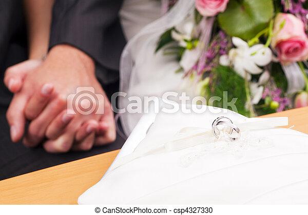 cerimônia, -, anéis, casório - csp4327330