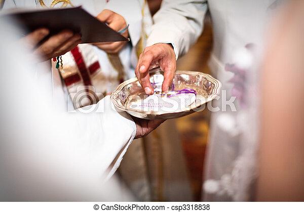cerimônia, casório, bênção, closeup, mãos - csp3318838