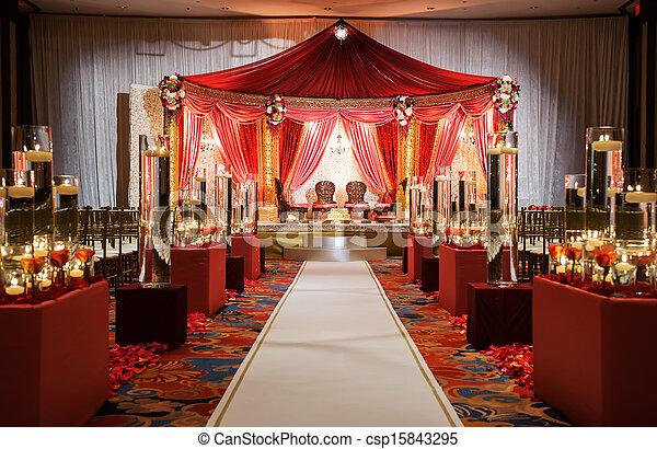 cerimônia, indianas, mandap, casório - csp15843295