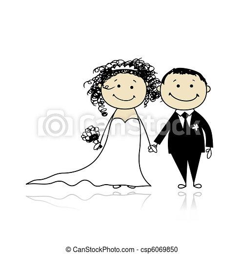 cerimonia, sposo, -, insieme, sposa, disegno, matrimonio, tuo - csp6069850