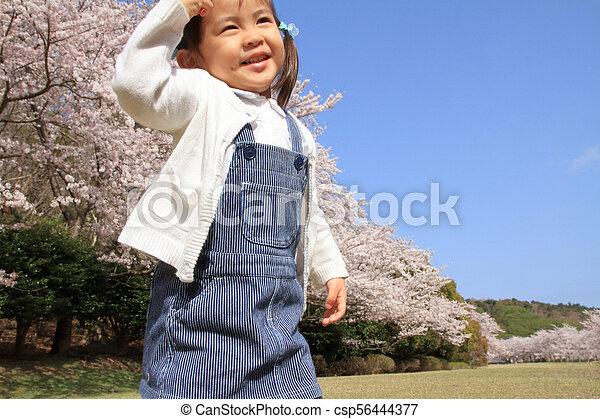cerise, japonaise, années, fleurs, (3, old), girl - csp56444377
