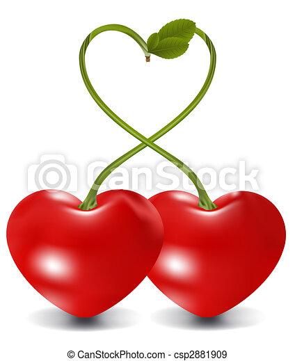 Cerise raster coeur illustration de stock rechercher - Dessin de cerise ...