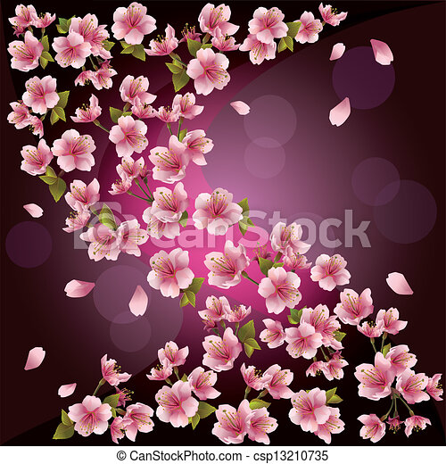 Cerise vecteur japonaise arbre rose card fleur cerise japonaise illustration - Arbre rose japon ...