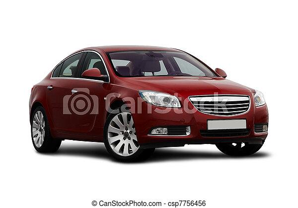 cerise, vue, front-side, voiture rouge - csp7756456