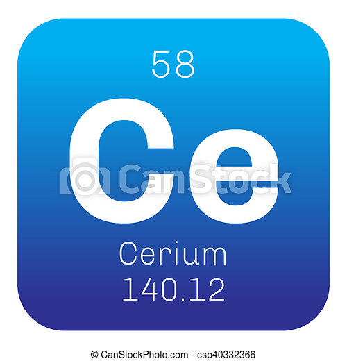 Cerium chemical element most common of the lanthanides colored cerium chemical element most common of the lanthanides colored icon with atomic number and atomic weight chemical element of periodic table urtaz Images