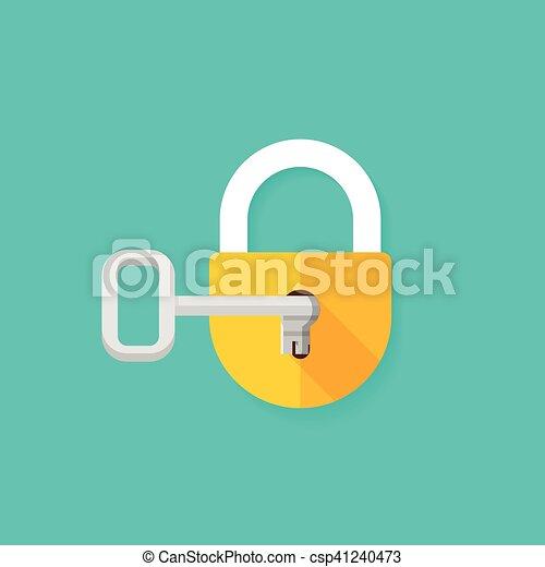 La llave de la cerradura abre la ilustración del vector de bloqueo cerrado - csp41240473