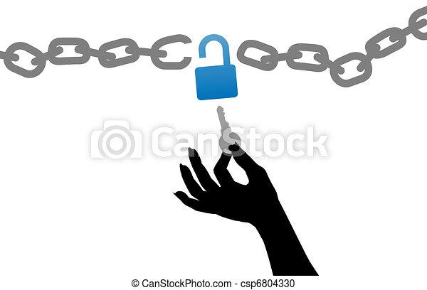 cerradura de cadena, libre, mano, persona, abrir, llave - csp6804330