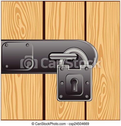 Cerradura exterior en la puerta - csp24504669