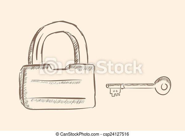 Cerradura y llave - csp24127516
