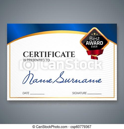 certificado, negócio, cupão, award., diploma, stamp., vetorial, luxo, modelo, selo, sucesso, presente, ou, realização - csp60779367