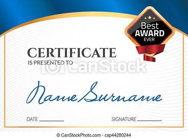 certificado, negócio, cupão, award., diploma, stamp., vetorial, luxo, modelo, selo, sucesso, presente, ou, realização - csp44280244
