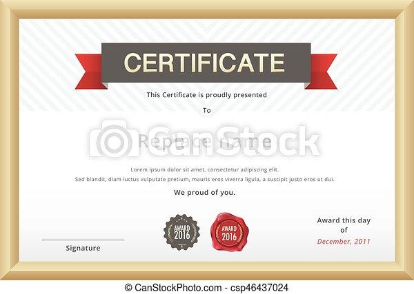certificat, or, border., vecteur, gabarit, education, template. - csp46437024