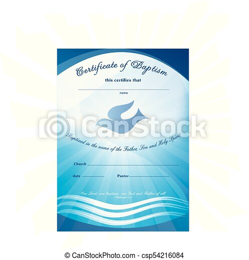 free water baptism certificate template - certificate baptism template with waves of water and dove