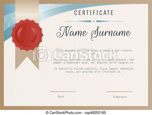 Certificate Blank Template Vector With Wax Seal Stamp Clip Art