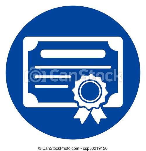 illustration of certificate blue circle icon