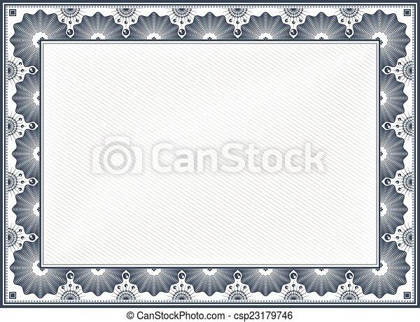 Certificate border. Diploma or certificate blank vintage vector ...