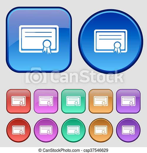 Certificate icon sign. A set of twelve vintage buttons for your design. Vector - csp37546629