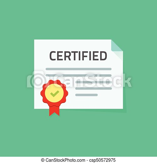 Certificate Icon Vector Illustration Flat Paper Document With Approved Seal Or Stamp And Certified Idea Of Legal Quality Guarantee