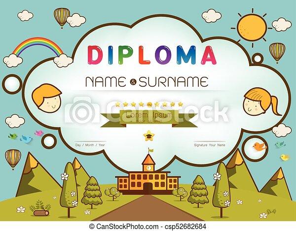 certificate kids diploma kindergarten template layout background