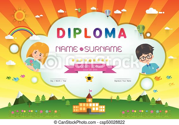 certificate kids diploma kindergarten template layout vector