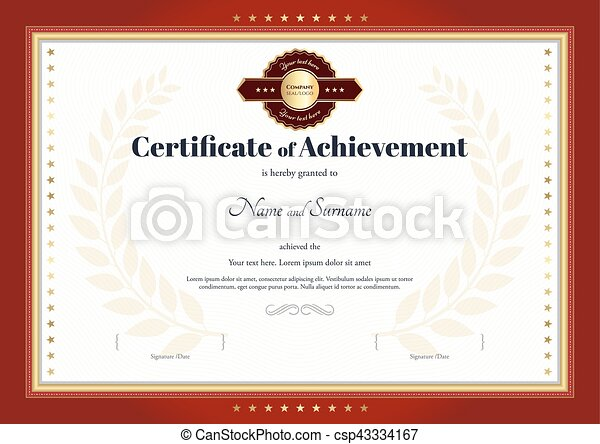 Elegant certificate of achievement template with vintage border.