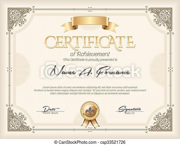 Certificate of Achievement Vintage  - csp33521726