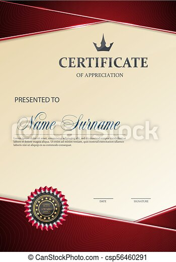 Certificate of Appreciation template. - csp56460291
