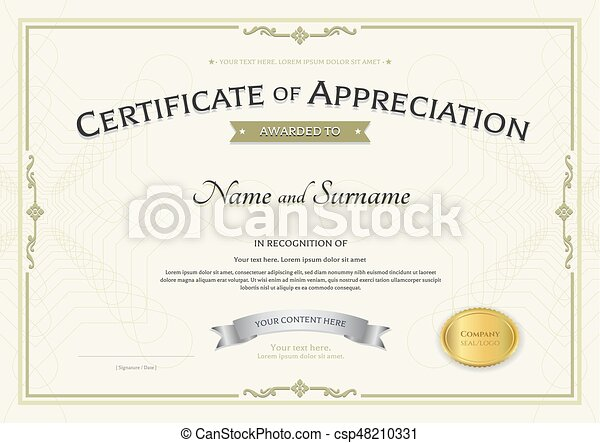Certificate Of Appreciation Template With Silver Award  Vectors
