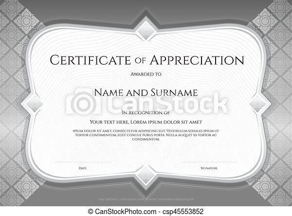 Certificate of appreciation template in vector with applied certificate of appreciation template in vector with applied thai art background silver color yadclub Gallery