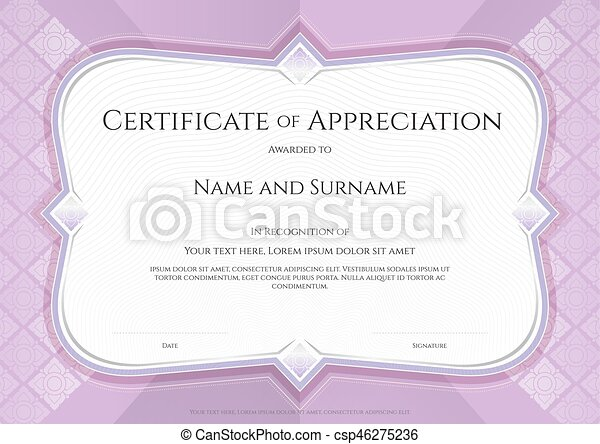 Certificate of appreciation template in vector with applied certificate of appreciation template in vector with applied thai art background purple color yadclub Image collections