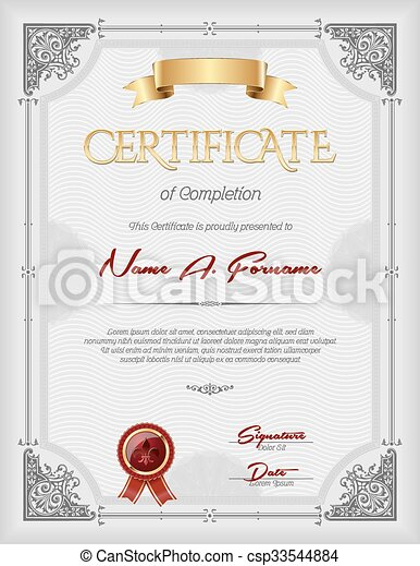 Certificate of Completion Portrait - csp33544884