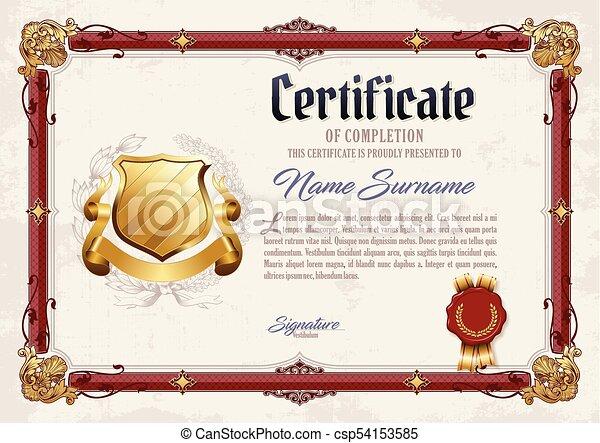 Certificate of Completion Vintage Frame - csp54153585