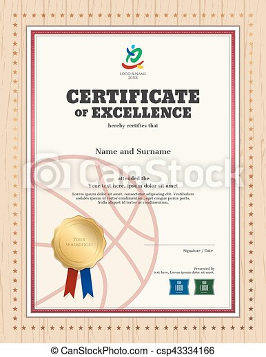 certificate of excellence template in sport theme for basketball