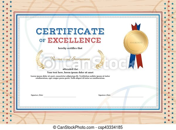 Certificate Of Excellence Template In Sport Theme For  Vector