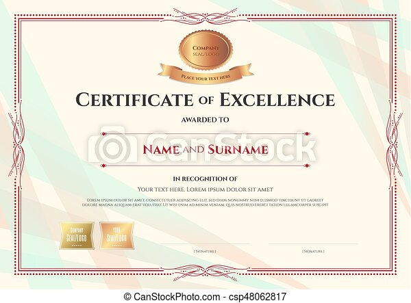 Certificate of excellence template on abstract ribbon... vector clip ...